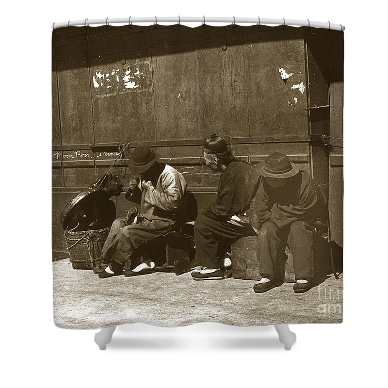 Chinese Cobbler Shower Curtain featuring the photograph Chinese Cobbler San Francisco California Chinatown Circa 1900 by California Views Archives Mr Pat Hathaway Archives