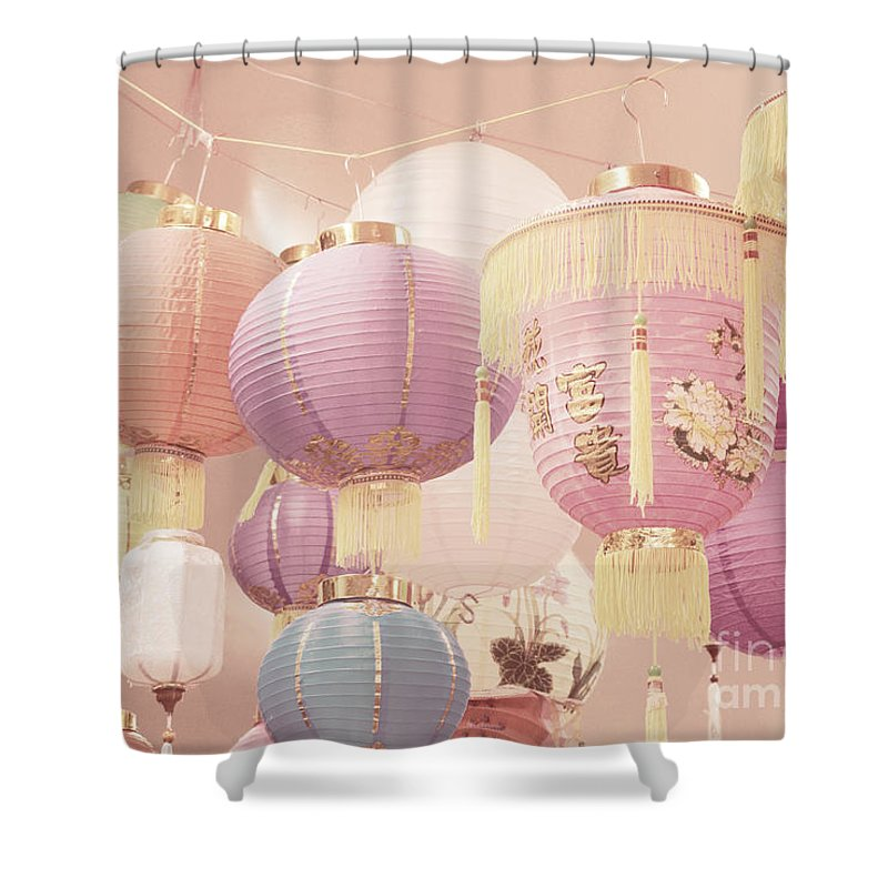 Romantic Shower Curtain featuring the photograph Chinese Lanterns by Cindy Garber Iverson