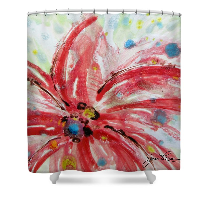 Red Flower Shower Curtain featuring the painting Chinese Red Flower by Joan Reese