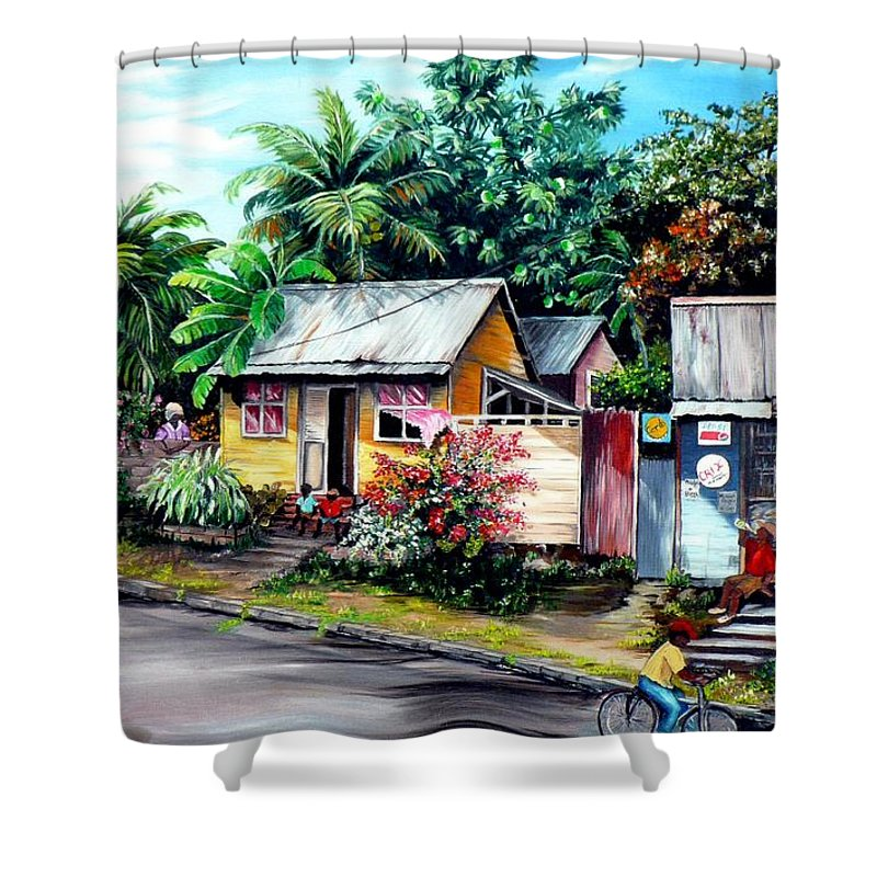 Landscape Painting Caribbean Painting Shop Trinidad Tobago Poinciana Painting Market Caribbean Market Painting Tropical Painting Shower Curtain featuring the painting Chins Parlour   by Karin Dawn Kelshall- Best