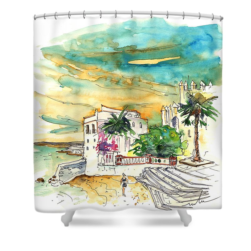 Travel Shower Curtain featuring the painting Chipiona Spain 04 by Miki De Goodaboom