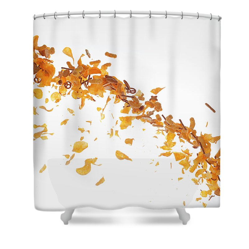 Curve Shower Curtain featuring the photograph Chips, Pretzels And Savory Snacks by Dual Dual