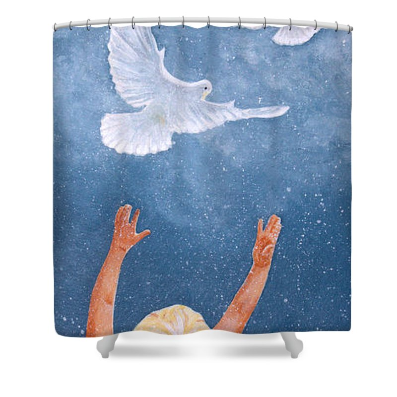 Dove Shower Curtain featuring the painting Chloe's World by Kimberly Shinn