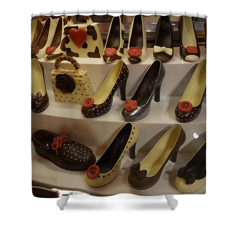 Chocolate Shoes Shower Curtain featuring the photograph Chocolate Shoes In Milan by Dotti Hannum