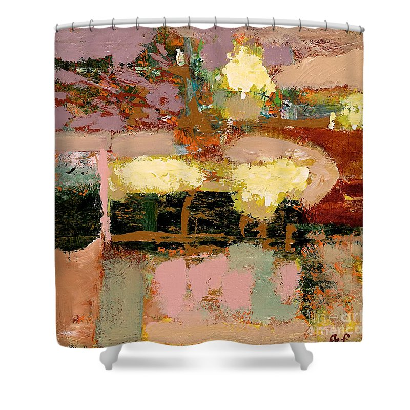 Landscape Shower Curtain featuring the painting Chopped Liver by Allan P Friedlander