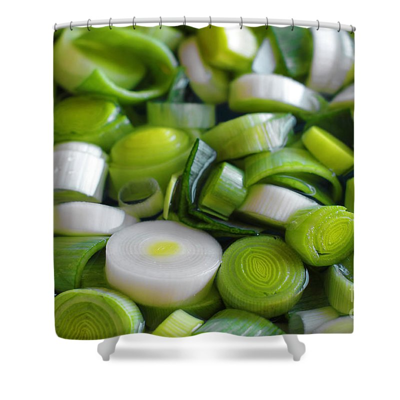 Onion Shower Curtain featuring the photograph Chopped Scallions by Carlos Caetano