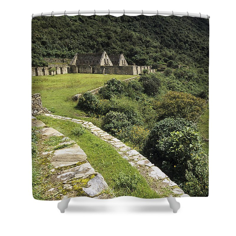 Peru Shower Curtain featuring the photograph Choquequirao Inca Terraces by James Brunker
