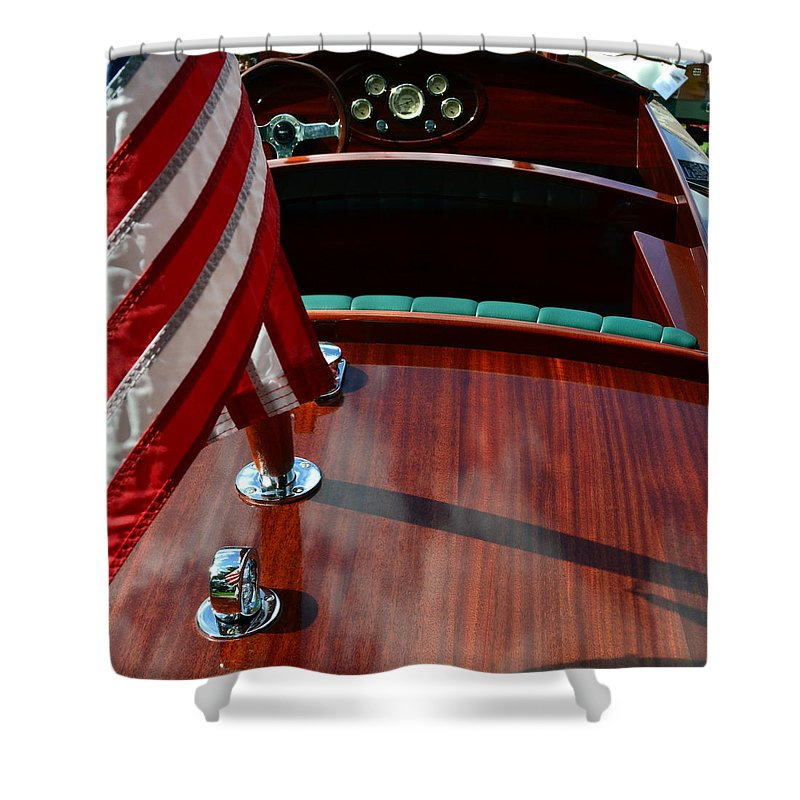 Classic Boat Shower Curtain featuring the photograph Chris Craft With Flag And Steering Wheel by Michelle Calkins