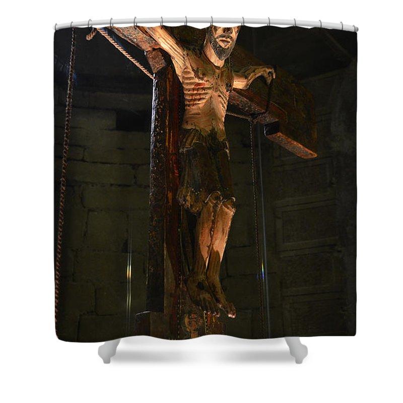 Church Shower Curtain featuring the photograph Christ Of Salardu by RicardMN Photography