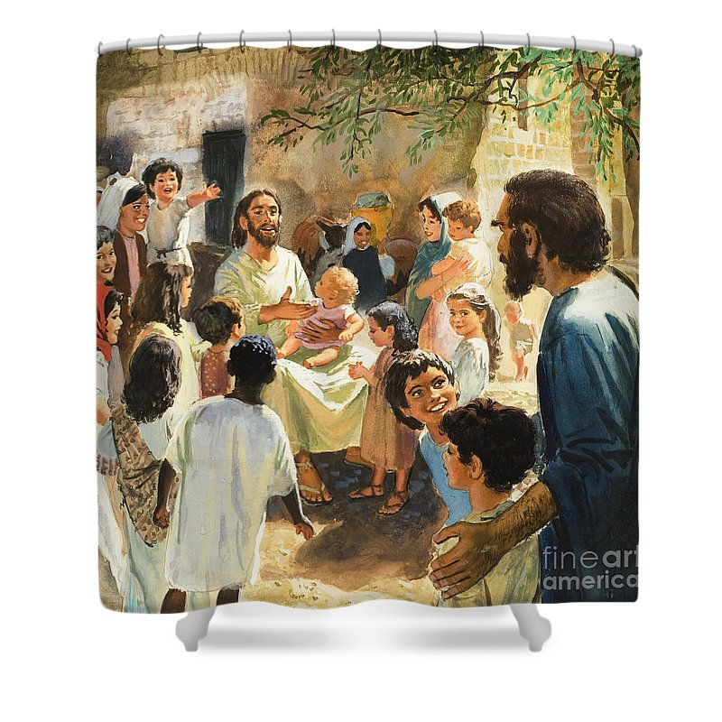 Jesus Christ Shower Curtain featuring the painting Christ With Children by Peter Seabright