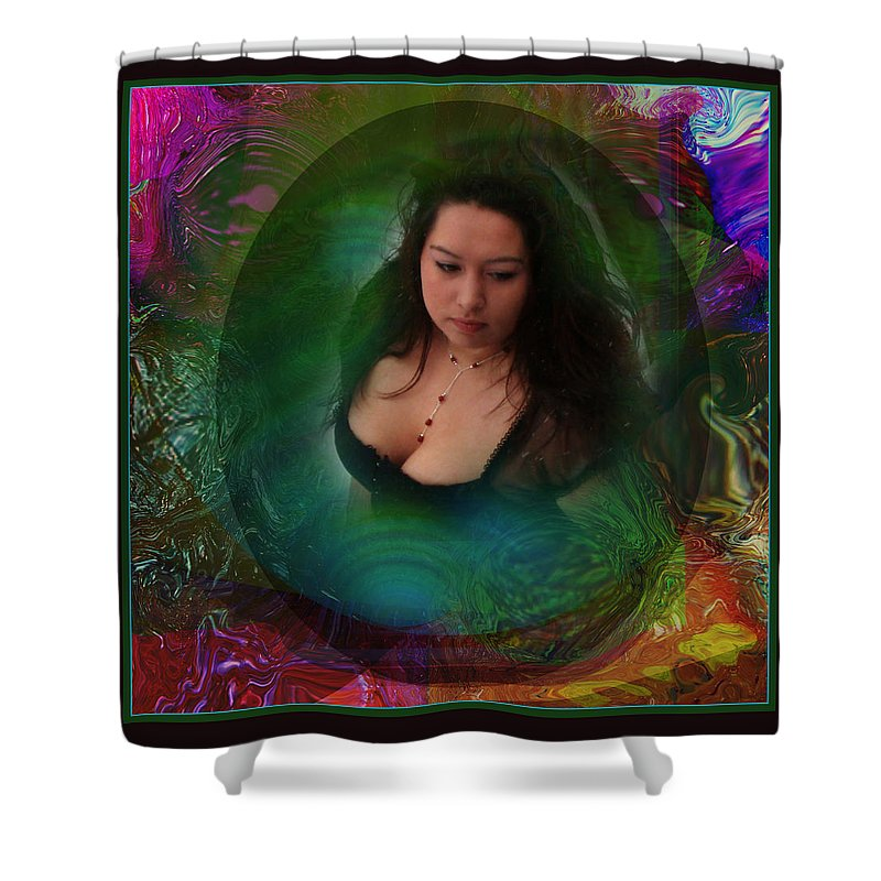 Semi-abstract Shower Curtain featuring the digital art Christan I by Otto Rapp