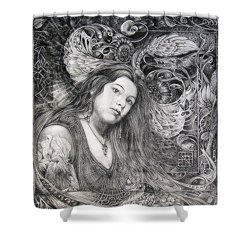 Portrait Shower Curtain featuring the drawing Christan Portrait by Otto Rapp