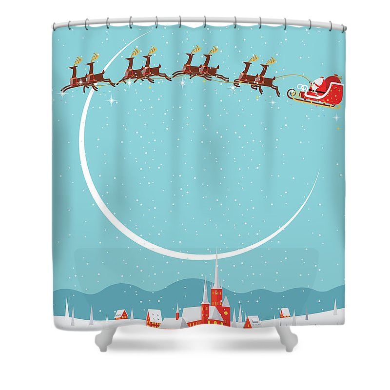 Holiday Shower Curtain featuring the digital art Christmas Background by Akindo