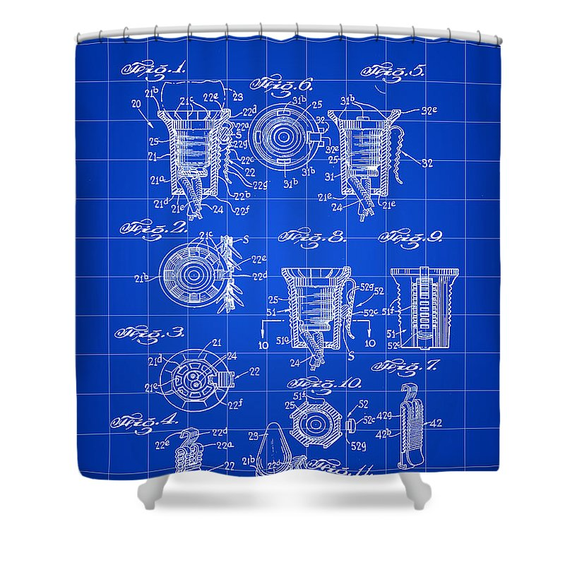 Christmas Shower Curtain featuring the digital art Christmas Bulb Socket Patent 1936 - Blue by Stephen Younts