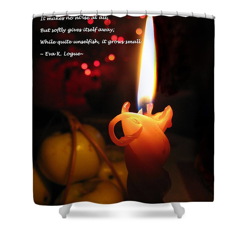 Christmas Candle Shower Curtain featuring the photograph Christmas Candle Greeting by Ausra Huntington nee Paulauskaite