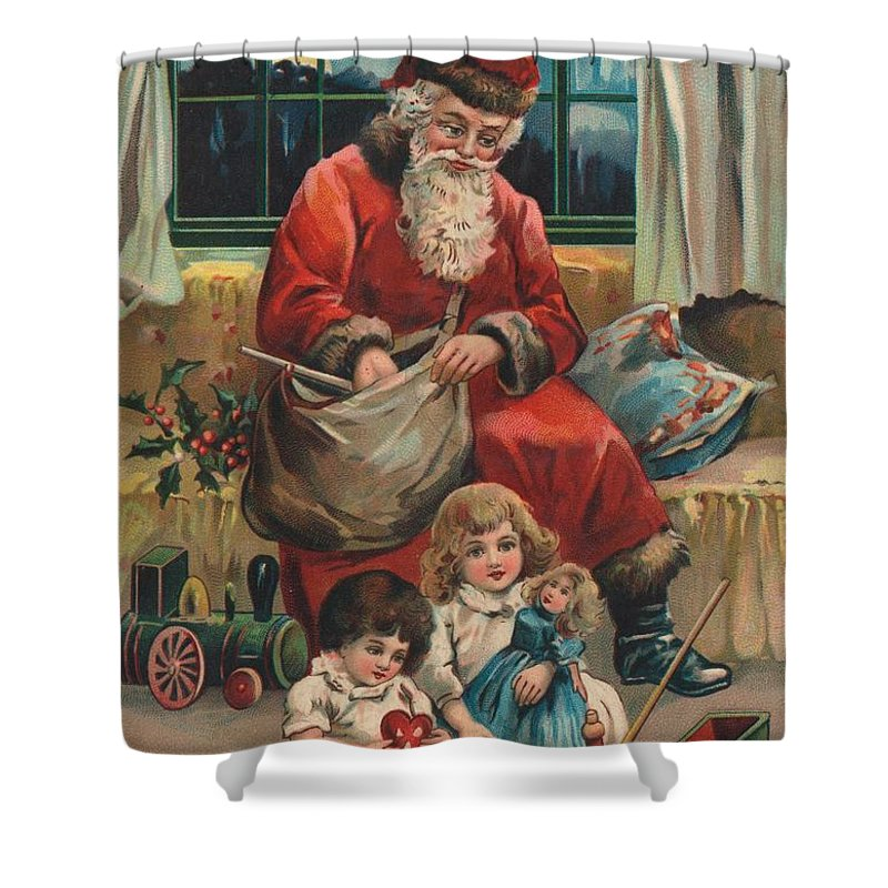 Christmas Shower Curtain featuring the painting Christmas Card by French School