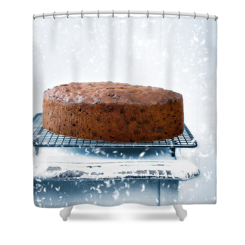 Christmas Shower Curtain featuring the photograph Christmas Fruit Cake by Amanda Elwell