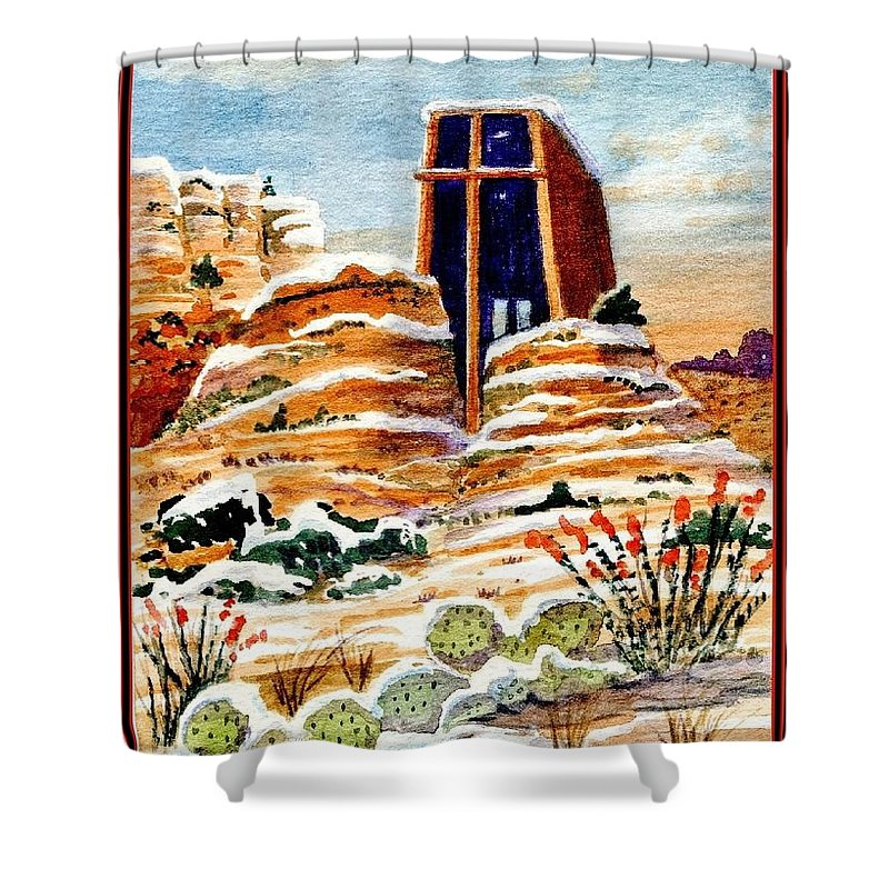 Chapel Of The Holy Cross Shower Curtain featuring the painting Christmas In Sedona by Marilyn Smith