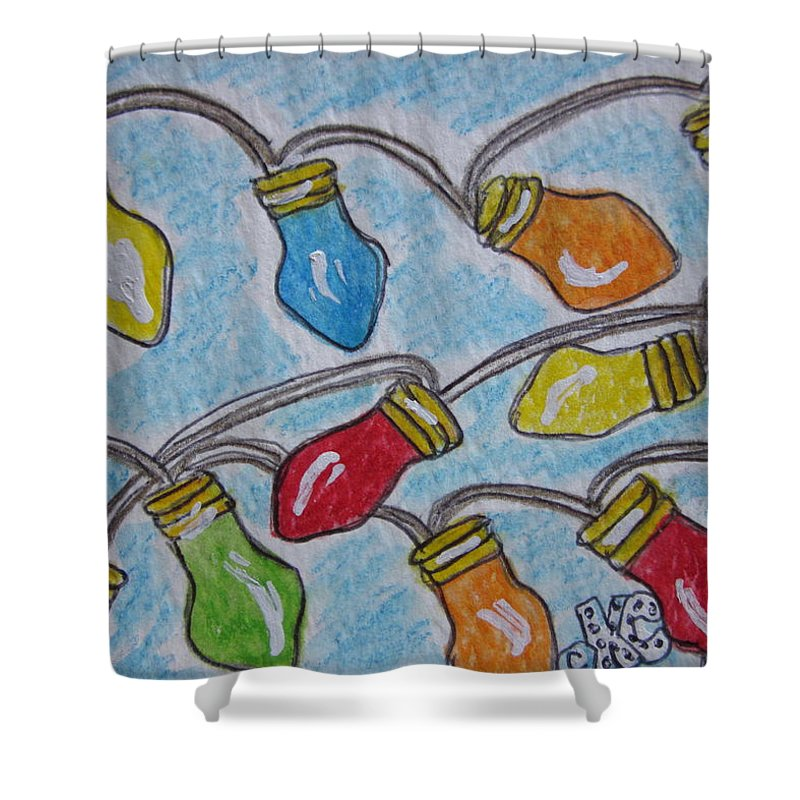Christmas Shower Curtain featuring the painting Christmas Lights by Kathy Marrs Chandler