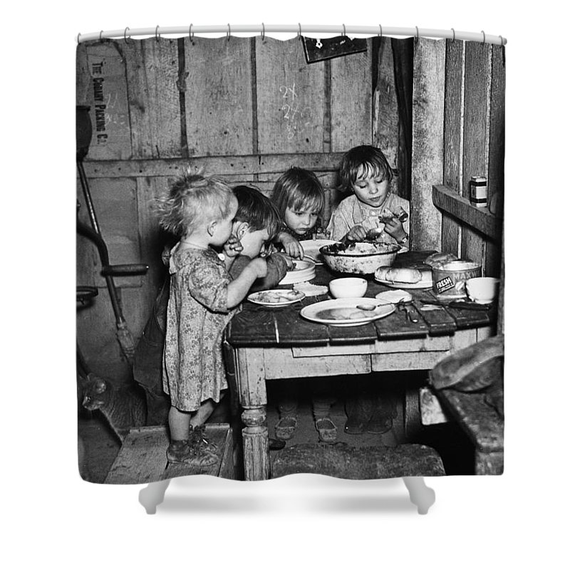 1936 Shower Curtain featuring the photograph Christmas Poor, 1936 by Granger