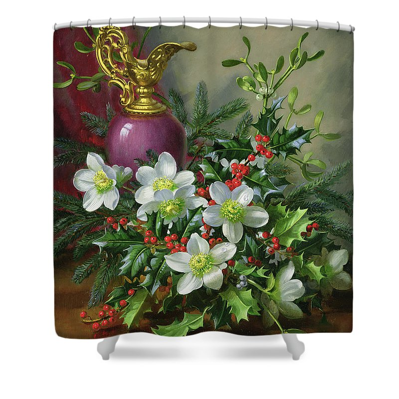Christmas Shower Curtain featuring the painting Christmas Roses by Albert Williams