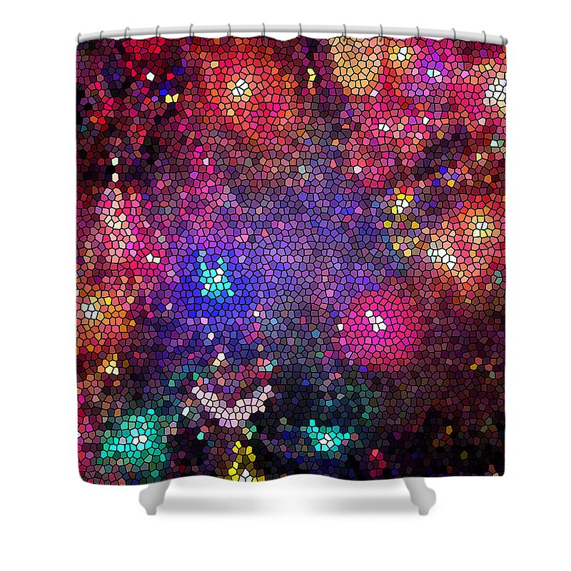 Christmas Shower Curtain featuring the photograph Christmas Stained Glass by Nancy Mueller