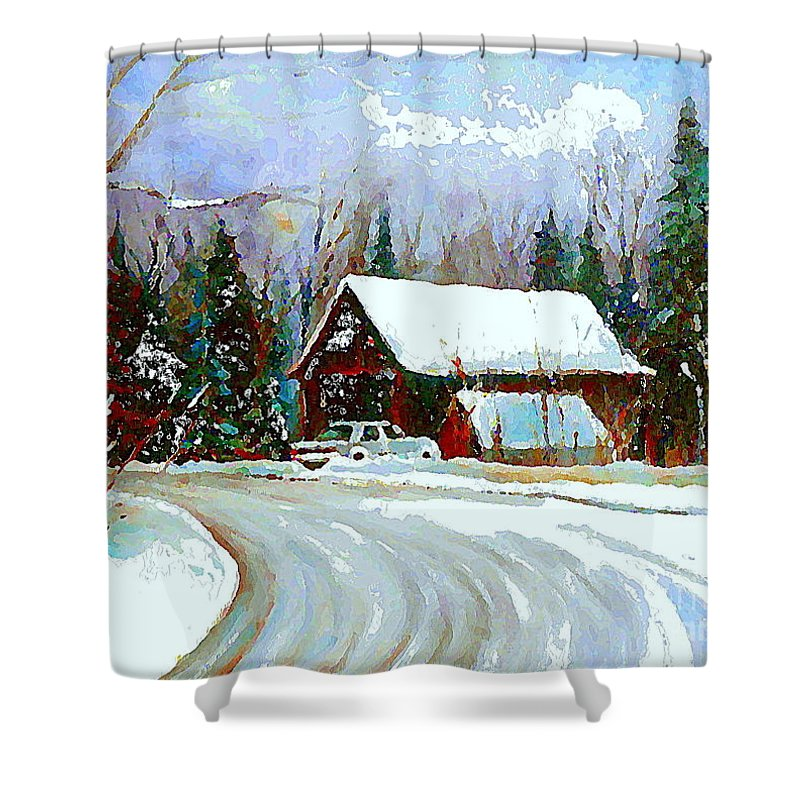 Winter Shower Curtain Featuring The Painting Christmas Trees Cozy Country Cabin Scene Quebec