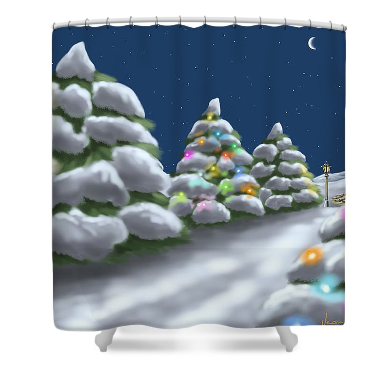 Ipad Shower Curtain featuring the painting Christmas Trees by Veronica Minozzi