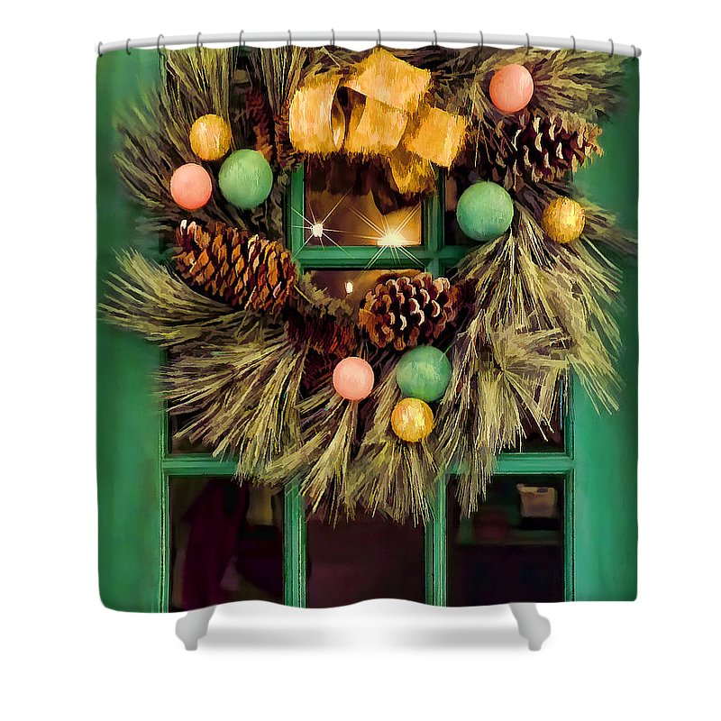 Christmas Wreath Pinecones Green Shower Curtain featuring the photograph Christmas Wreath by Nora Martinez
