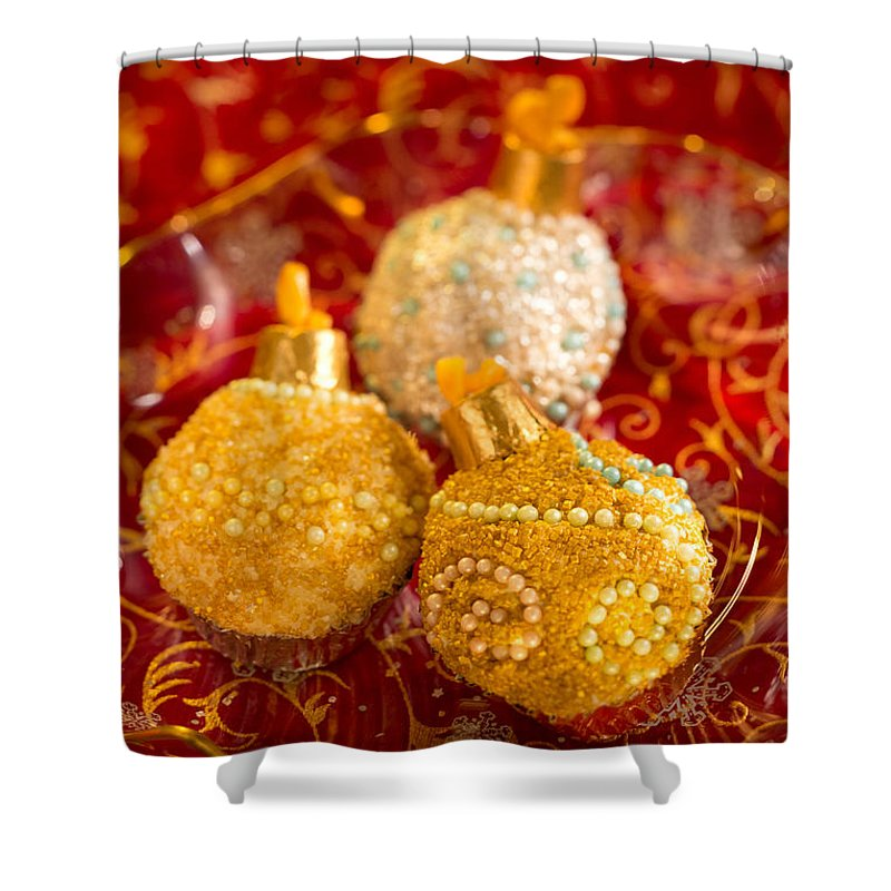 Iris Holzer Richardson Shower Curtain featuring the photograph Christmasball Cupcakes In Red by Iris Richardson