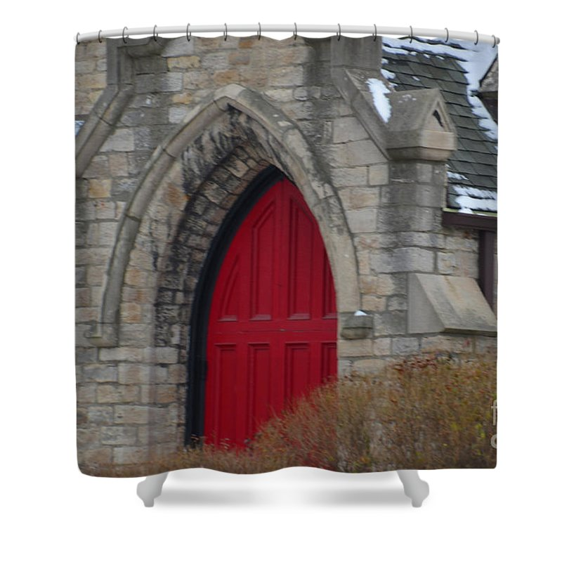 Detroit Shower Curtain featuring the photograph Church And The Red Door by Randy J Heath
