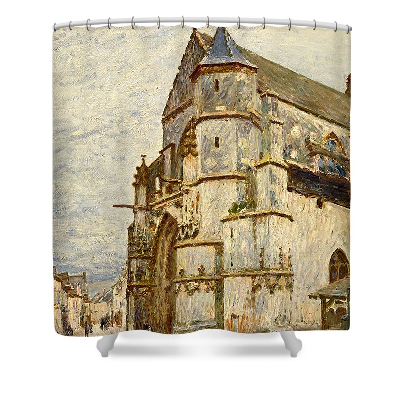 Church Shower Curtain Featuring The Painting At Moret After Rain By Alfred Sisley