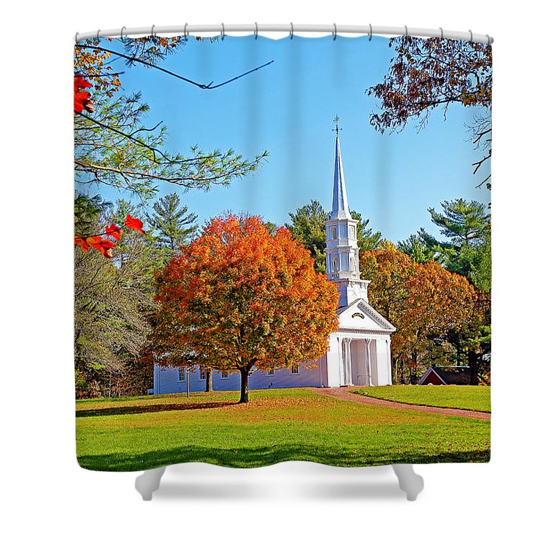 Church Shower Curtain featuring the photograph Church In Autumn by Evan Peller