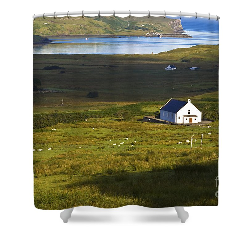 White Shower Curtain featuring the photograph Church In The Glen by Diane Macdonald