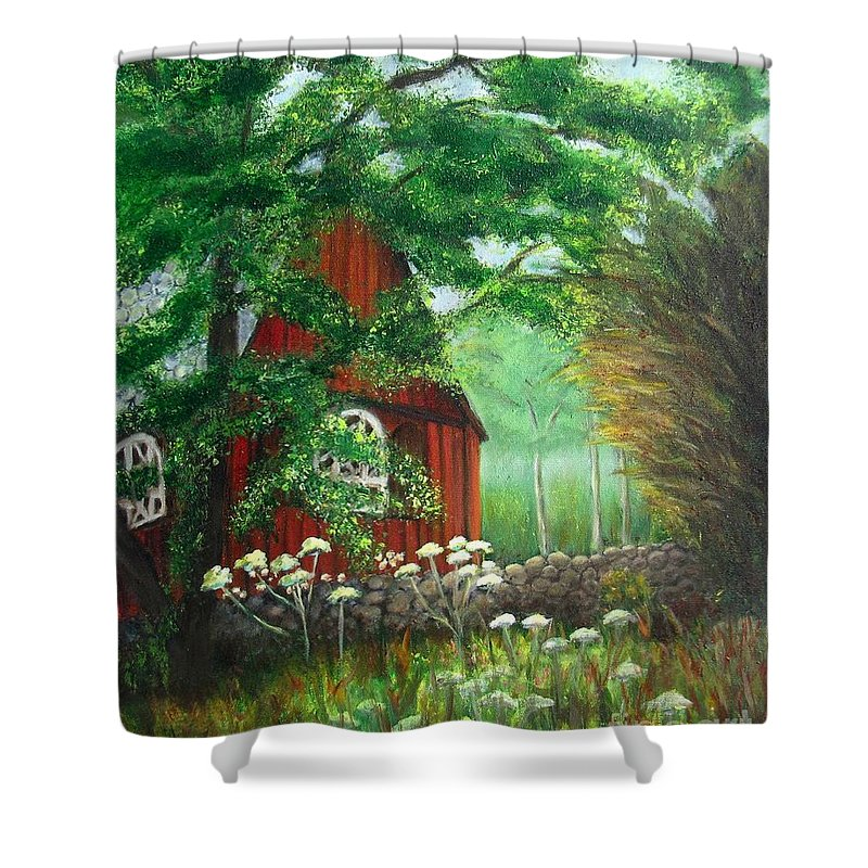 Church Shower Curtain featuring the painting Church In The Glen by Laurie Morgan
