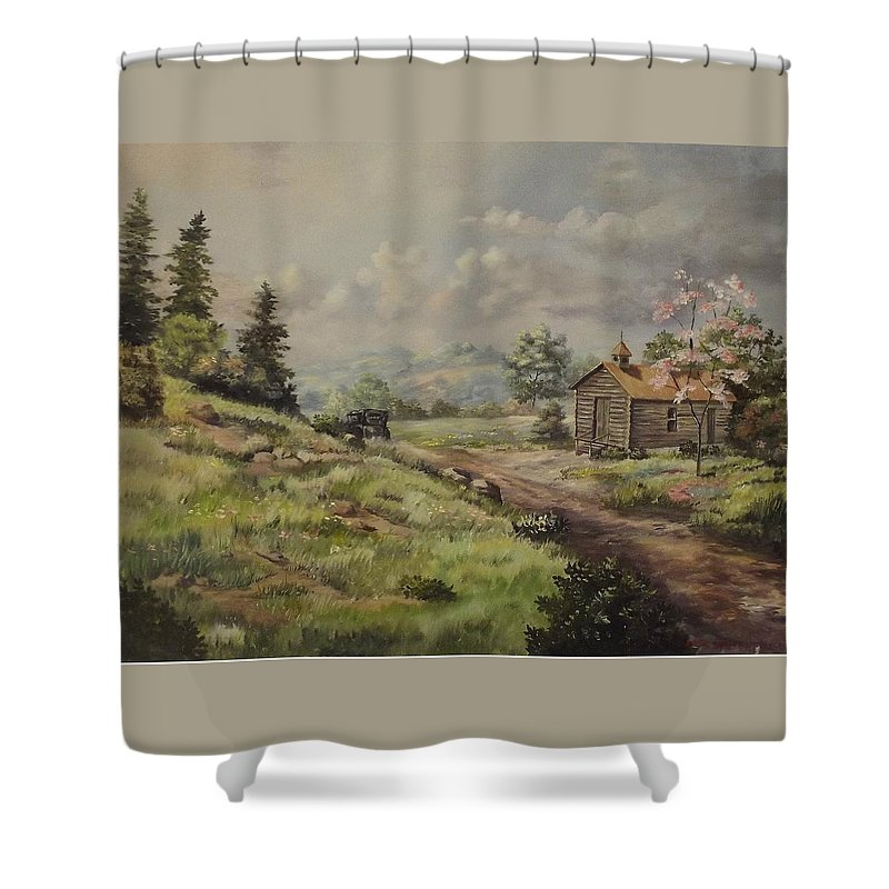 Landscape Shower Curtain featuring the painting Church In The Ozarks by Wanda Dansereau