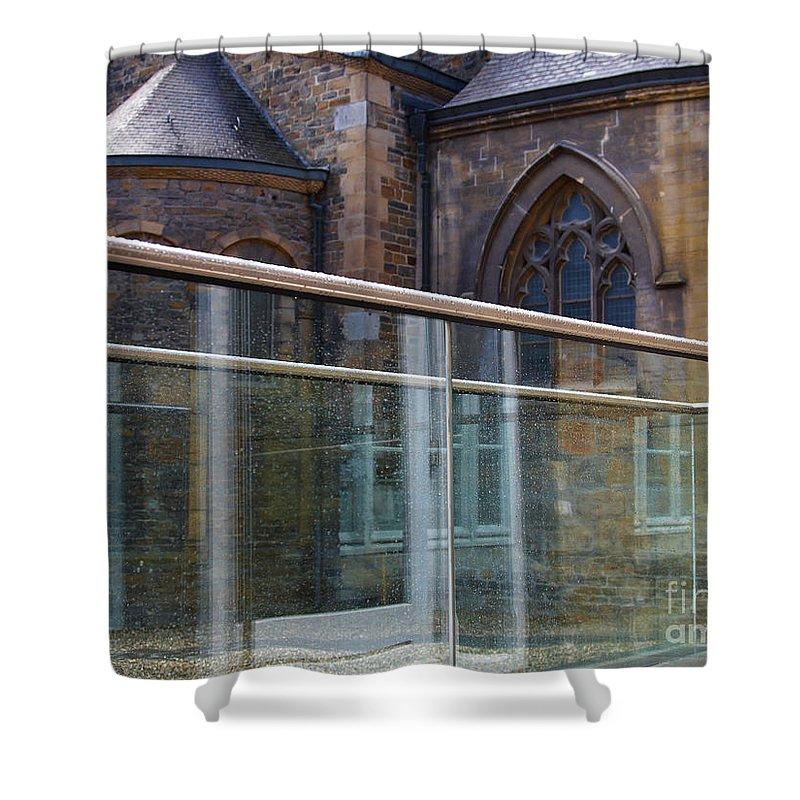 Church Shower Curtain featuring the photograph Church Seen Through A Transperant Screen by Nick Biemans