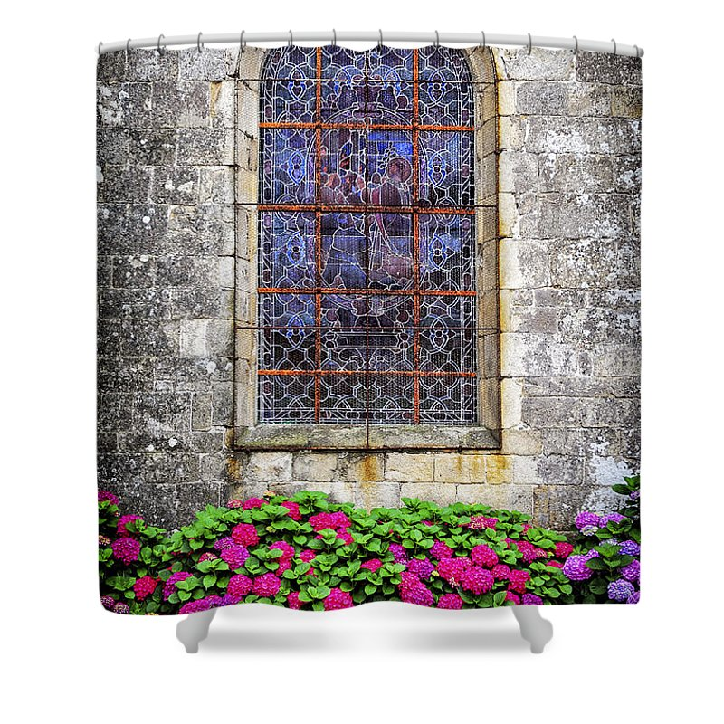 Old Shower Curtain featuring the photograph Church Window In Brittany by Elena Elisseeva