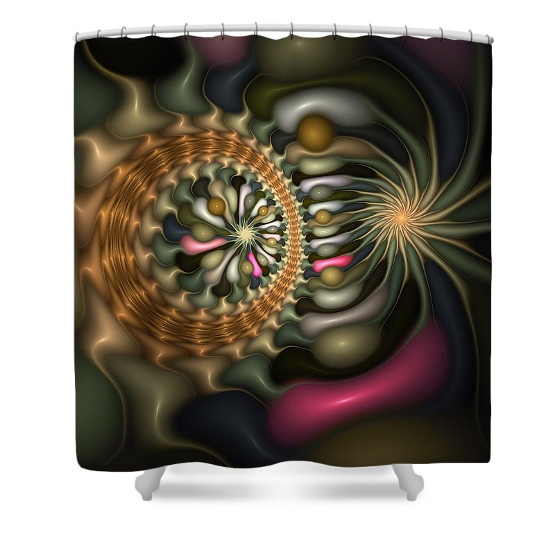 Abstract Shower Curtain featuring the digital art Cicular Logic Overwhelmed by Casey Kotas