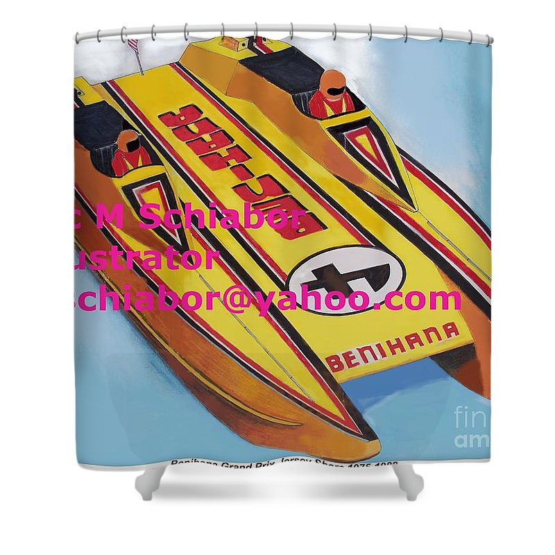 Power Boat Shower Curtain featuring the painting Cigarett Power Boat Illustration by Eric Schiabor