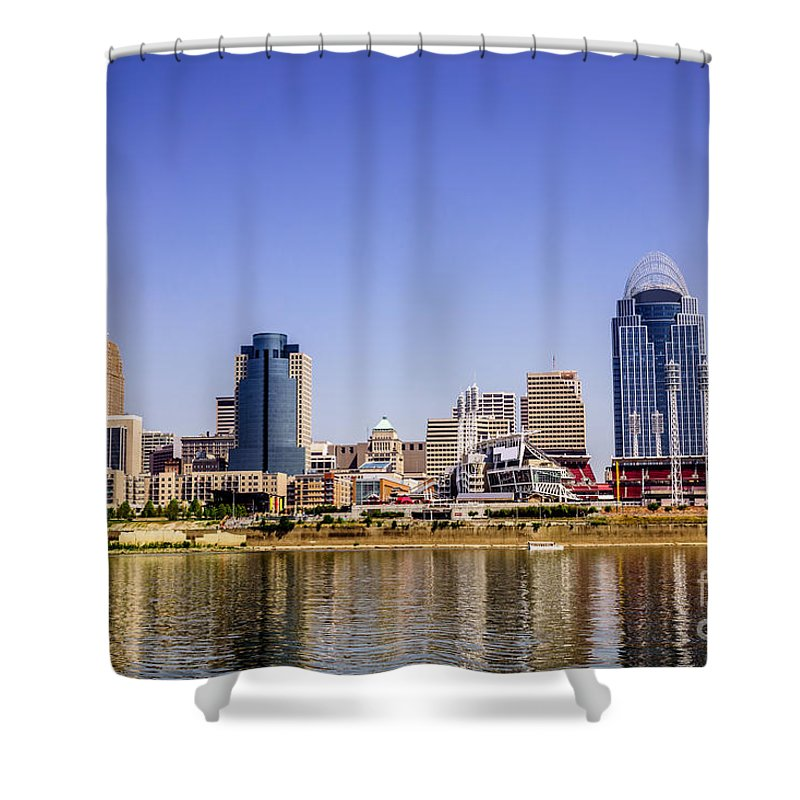 2012 Shower Curtain featuring the photograph Cincinnati Skyline Riverfront Downtown Office Buildings by Paul Velgos