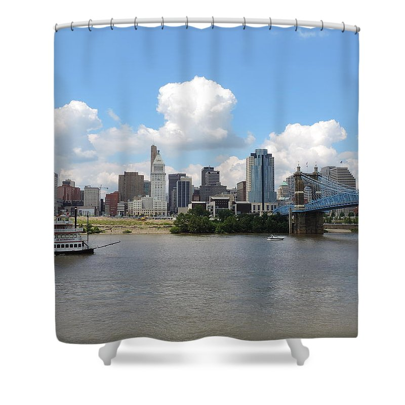 City Shower Curtain featuring the photograph Cincinnati Skyline With A Boat by Cityscape Photography