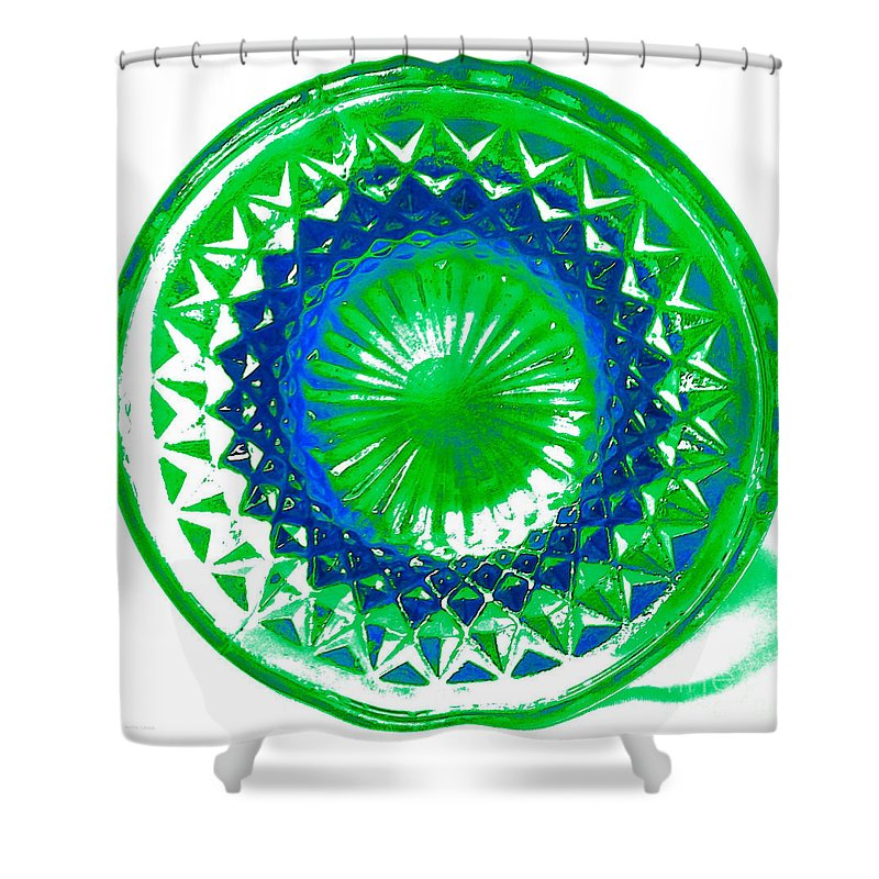 Abstract Shower Curtain featuring the mixed media Circle Green by Anita Lewis