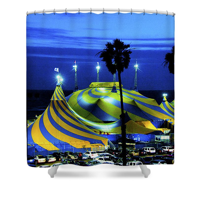 Carnival Tent Shower Curtain featuring the photograph Circus Tent Swirls Of Blue Yellow Original Fine Art Photography Print by Jerry Cowart
