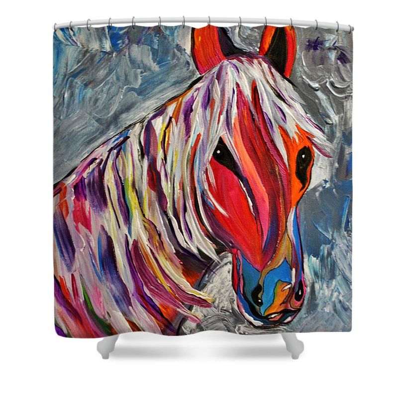 Horse Shower Curtain featuring the painting Cisco Abstract Horse by Janice Pariza