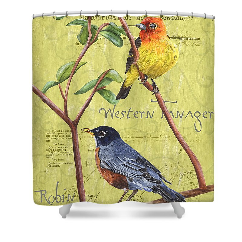 Bird Shower Curtain featuring the painting Citron Songbirds 2 by Debbie DeWitt