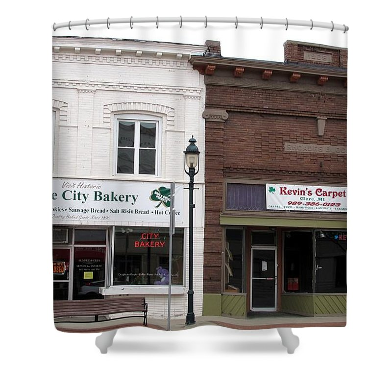 Clare Shower Curtain featuring the photograph City Bakery In Clare Michigan by Terri Gostola