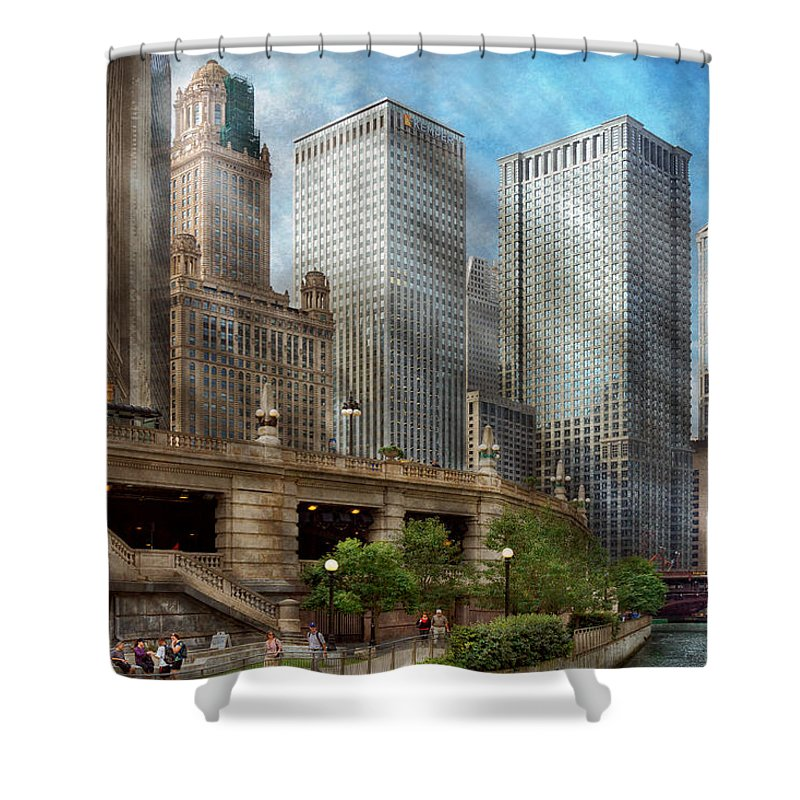 Chicago Shower Curtain featuring the photograph City - Chicago Il - Continuing A Legacy by Mike Savad
