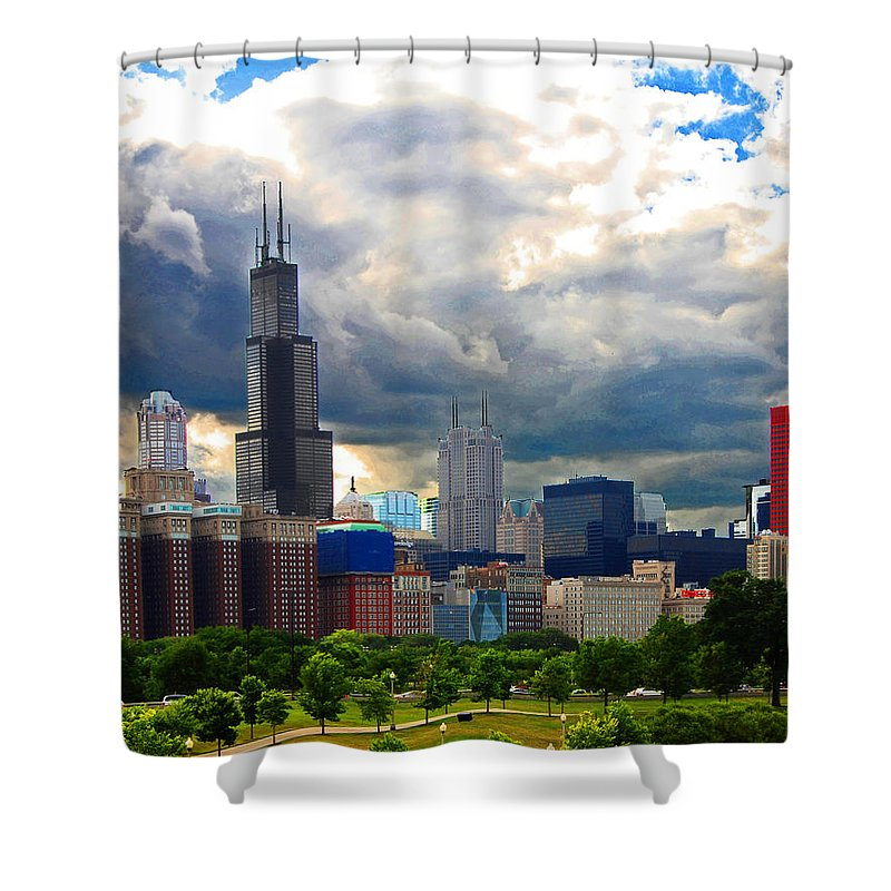Chicago Shower Curtain featuring the photograph City Color Crazy by Rick Selin
