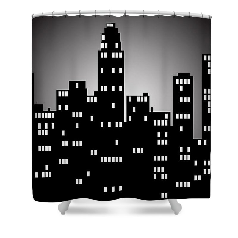 City Shower Curtain featuring the digital art City by FL collection